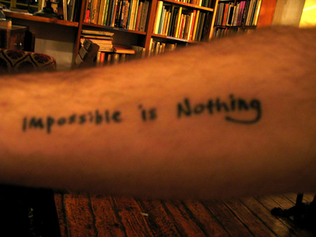 impossible is nothing, tattoo, adidas, כתובת קעקע