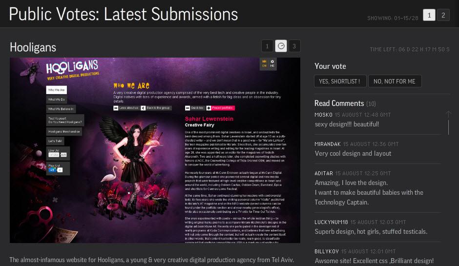 האתר של Hooligans ב-TheFWA