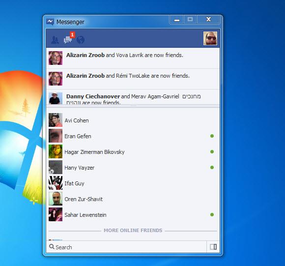 המסנג'ר של פייסבוק עכשיו גם על שולחן העבודה
