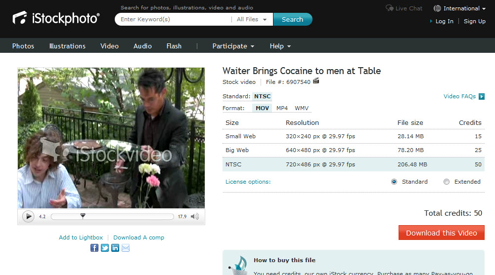 Waiter Brings Cocaine to men at Table