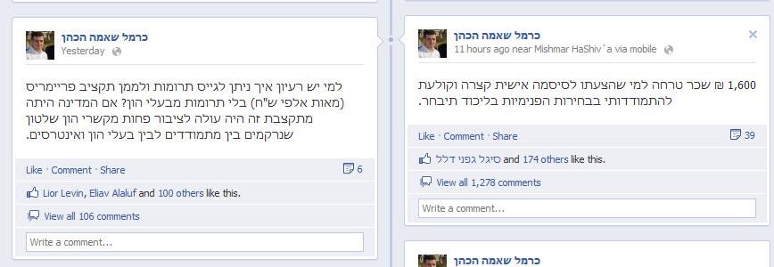 כרמל שאמה הכהן עושה אאוטסורסינג בפייסבוק