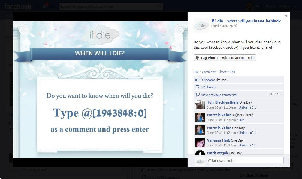 מתוך עמוד הפייסבוק של if i die