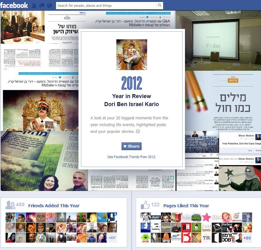 מגניב: פייסבוק מסכמת לכל אחד ואחת מאיתנו את 2012