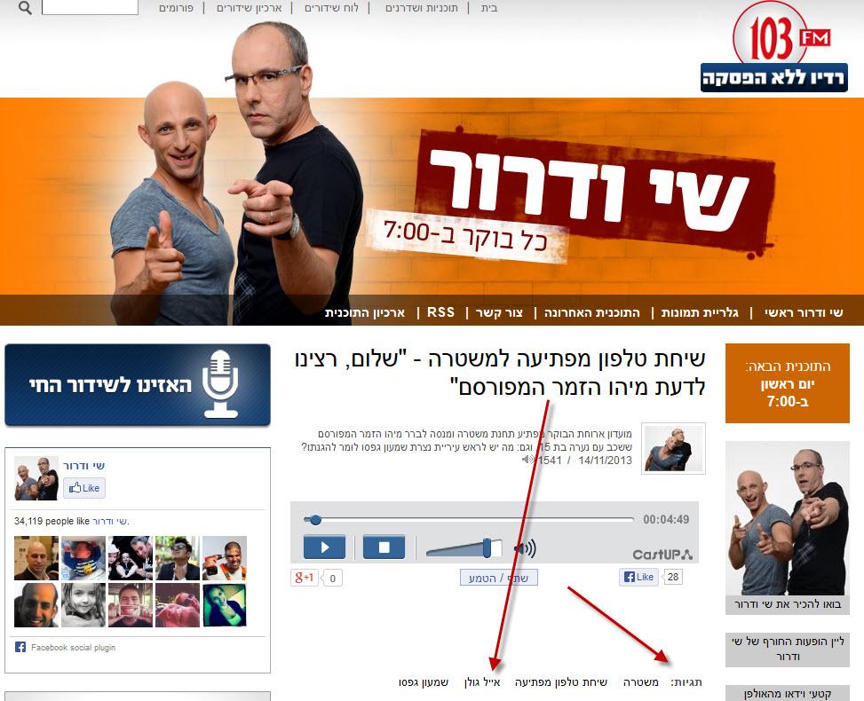 פרסום ראשון: רדיו 103FM הפר צו איסור פרסום בתוכנית של שי ודרור
