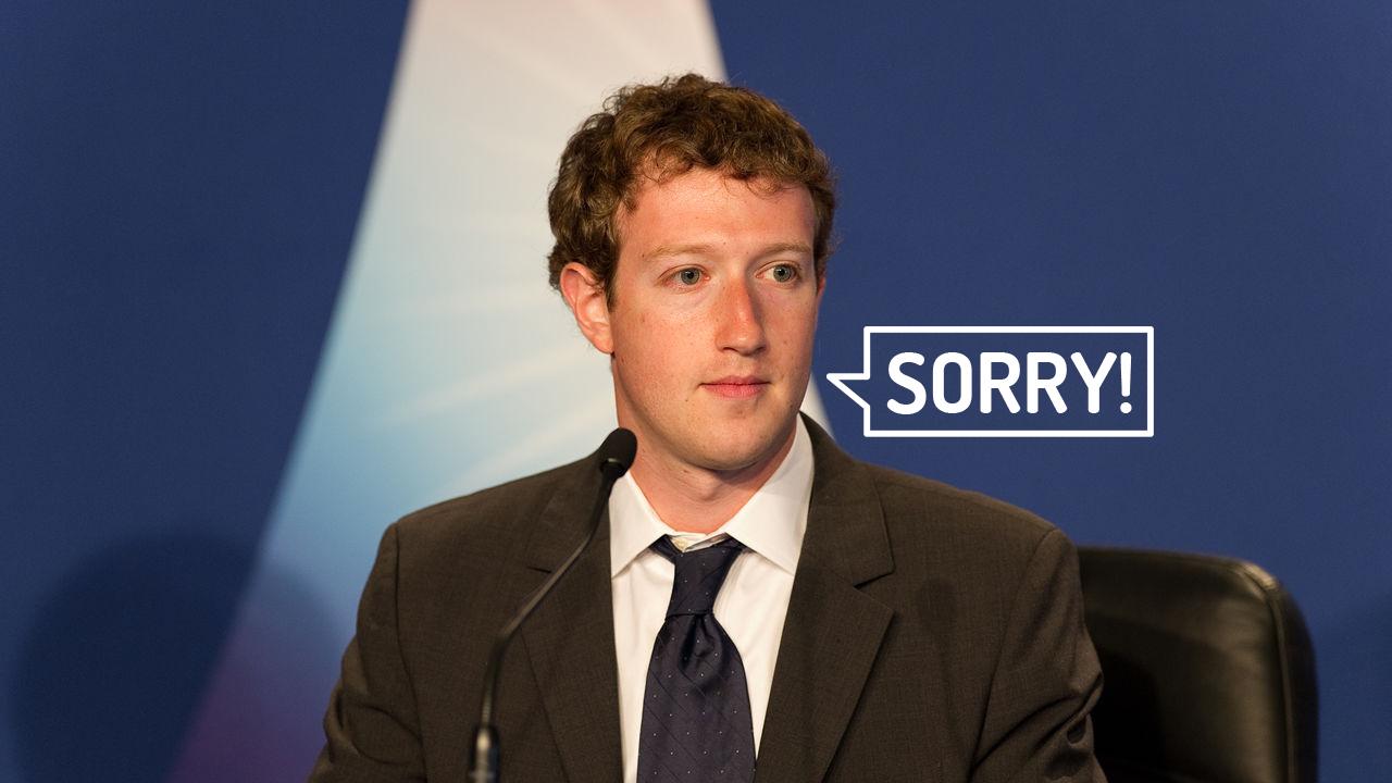 מארק צוקרברג מבקש סליחה