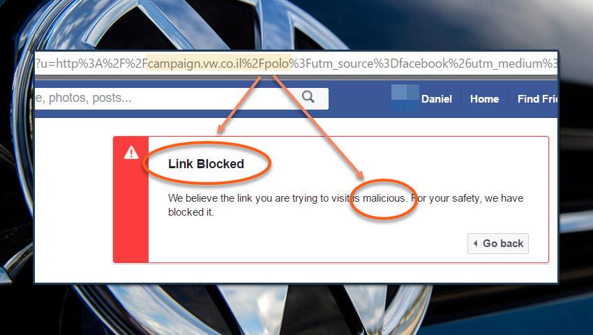פייסבוק: אתר פולקסווגן זדוני